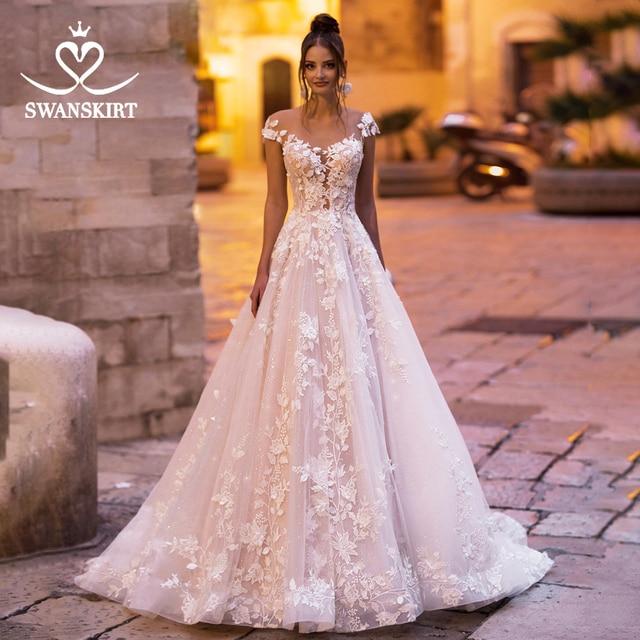 Thời trang Appliques Áo Cưới Swanskirt N131 Người Yêu Chữ A Hở lưng Công Chúa Áo Dài Cô Dâu Triều Đình Đoàn Tàu Đầm Vestido de noiva