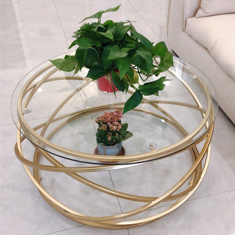 Nordic Coffee Table Creative Wrought Iron Tempered Glass Modern Living Room Fashion Sofa Side Round Coffee Table Mx6241647