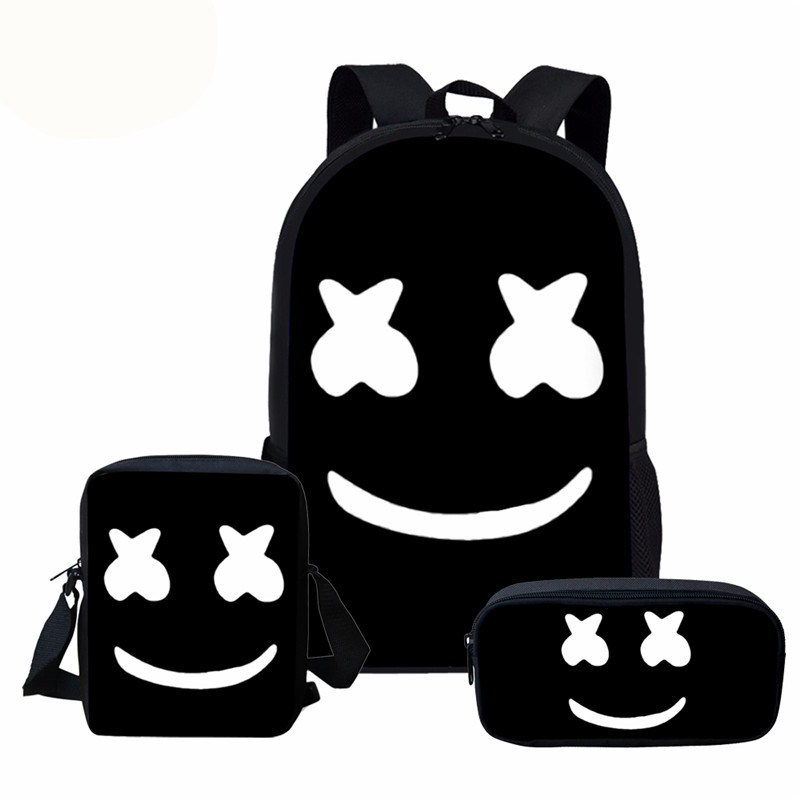 New Arrival Upgraded Children's 3PCs/Set Backpack DJMARSHMELO Design School Bags Teenagers Book Bag With Luch Bag Mochila