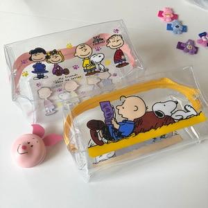INS Hot Sale Rogue Dog Transparent PVC High Capacity Pencil Bag Kawaii Storage Bag Purse Card Package Learning Storage Tool(China)