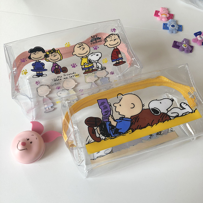 INS Hot Sale Snoopy Transparent PVC High Capacity Pencil Bag Kawaii Storage Bag Purse Card Package Learning Storage Tool