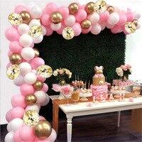 118ピース/セットピンクバルーン花輪バルーンアーチキット白ゴールドバルーンベビーシャワー誕生日パーティー結婚式独身装飾