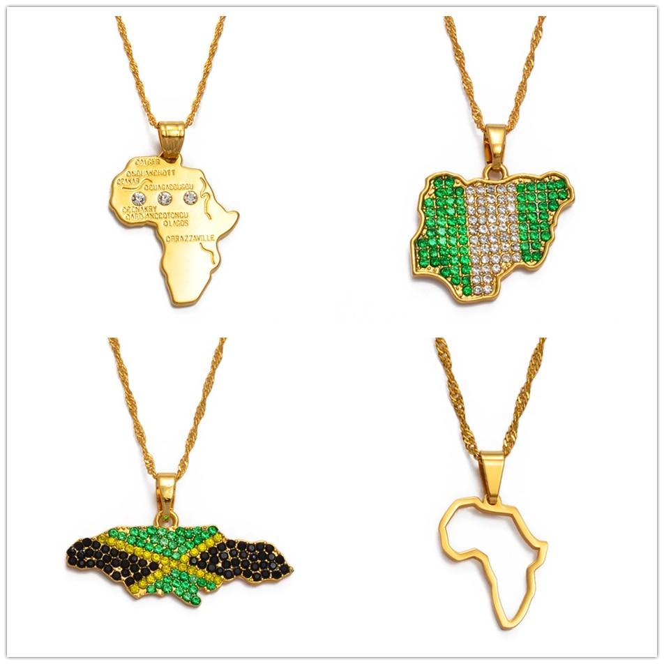 Ожерелье с подвеской в виде цветного флага Нигерии и Ямайки со стразами, карты Африки, этнические украшения #122721