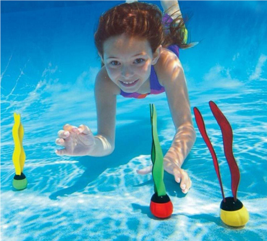 3pcs Kids Plants Toy Sports Swimming Pool Toys Sea Plant Shape Diving Toys Diving Swimming Training Pool For Children