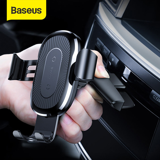 Baseus Wireless Car Phone Holder 10W Fast Charging Stand For Iphone 11 Pro 4.0 6.5 Inch Gravity Auto CD Slot Support Car Mount
