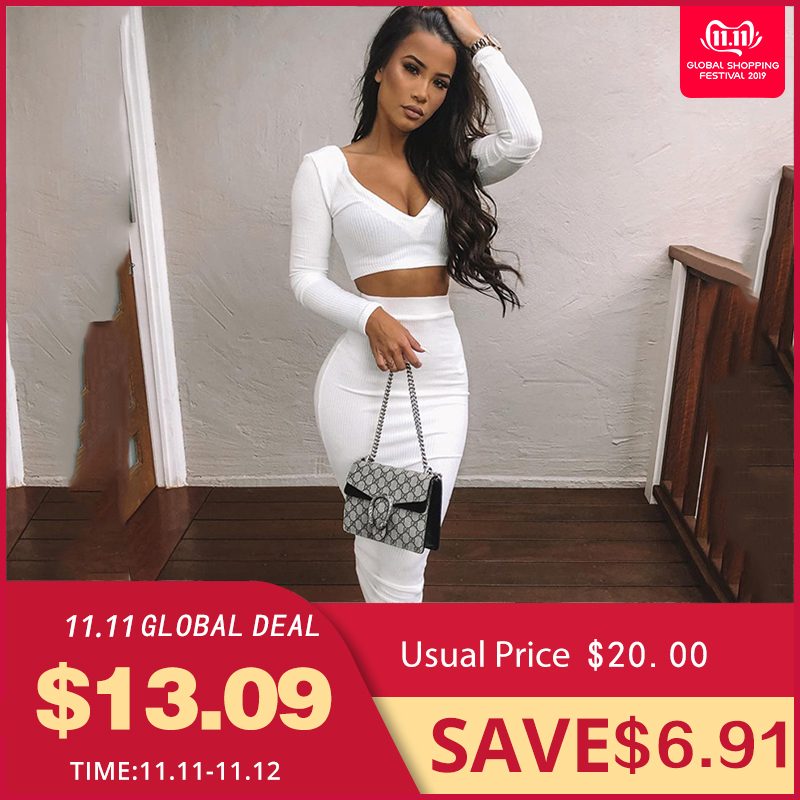 NewAsia Sexy Two Piece Set V-neck Long Sleeve Crop Top Long Skirt Set Party Summer Clothes For Women Two Piece Outfits 2019 New