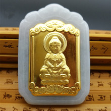 New Design Discount Jade Pendants For Men Women Fashion Couple  Necklaces Buddha Gold Inlaid Jewelry