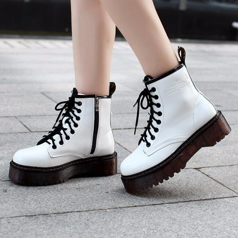 2019 Women Motorcycle Wedge Ankle Boots Women Lace-up Platforms Fall Winter Soft Leather Oxford Shoes Women Botas Mujer AC-24