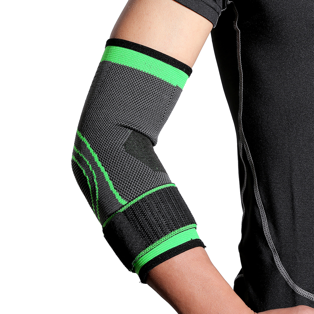 Elbow Guard Breathable Bandage Knitted Elbow Protector Sports Weightlifting Fitness Basketball Green Unisex 1 Pack