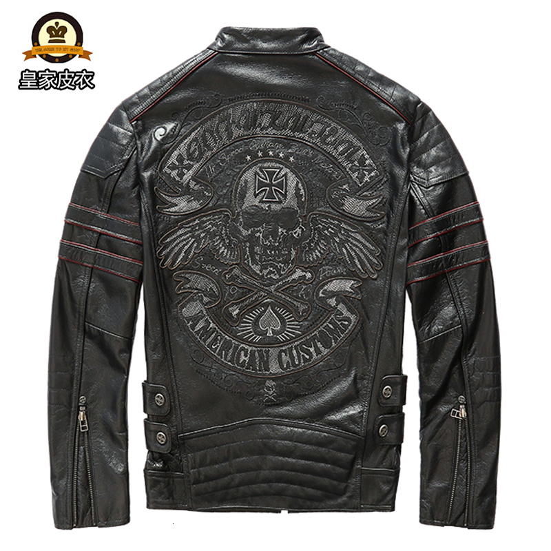 Factory 2020 New Men Back Skulls Motorcycle Cow Leather Jacket Fashion Thick Cowhide Riding Biker Jackets Winter Russia Coats