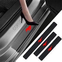Autocollant de seuil de porte en cuir protecteur de seuil de voiture en Fiber de carbone pour For Ford Mustang Gt