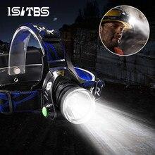 Светодиодный налобный фонарь супер яркий головной светильник T6/L2 на открытом воздухе Водонепроницаемый масштабируемый USB Перезаряжаемые ...