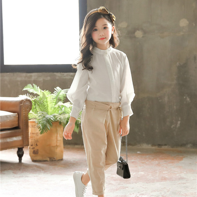 Spring Girls Clothing Set Girl Suit Teens Blouse +Pants Trousers Two-piece Suit 3-15Y Baby Big Girls Blouse Clothing Sets CA163 5