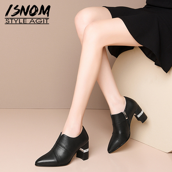 ISNOM Genuine Leather Pumps Women Thick High Heels Shoes Woman Pointed toe Ladies Pumps Zip Crystal Heel Shoes Big Size