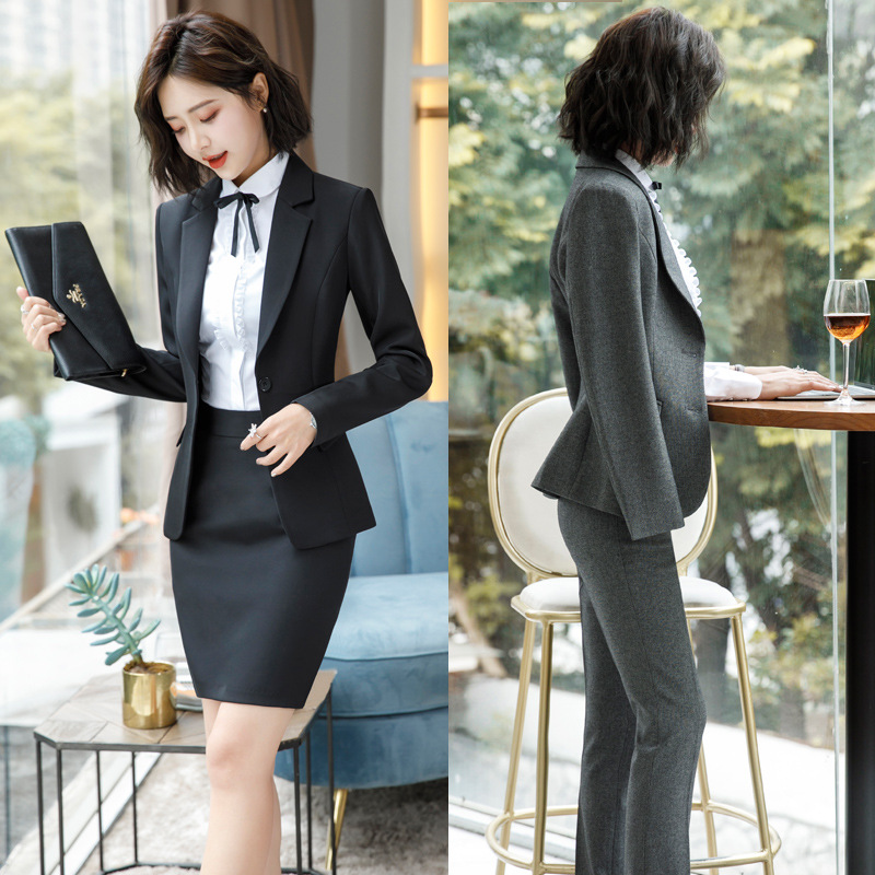 Spring Autumn Long Sleeve Business Formal Pants Suit Ol Women's Ladies Work Wear Grey Blazers Trouser Suits Blouse Costume Dress