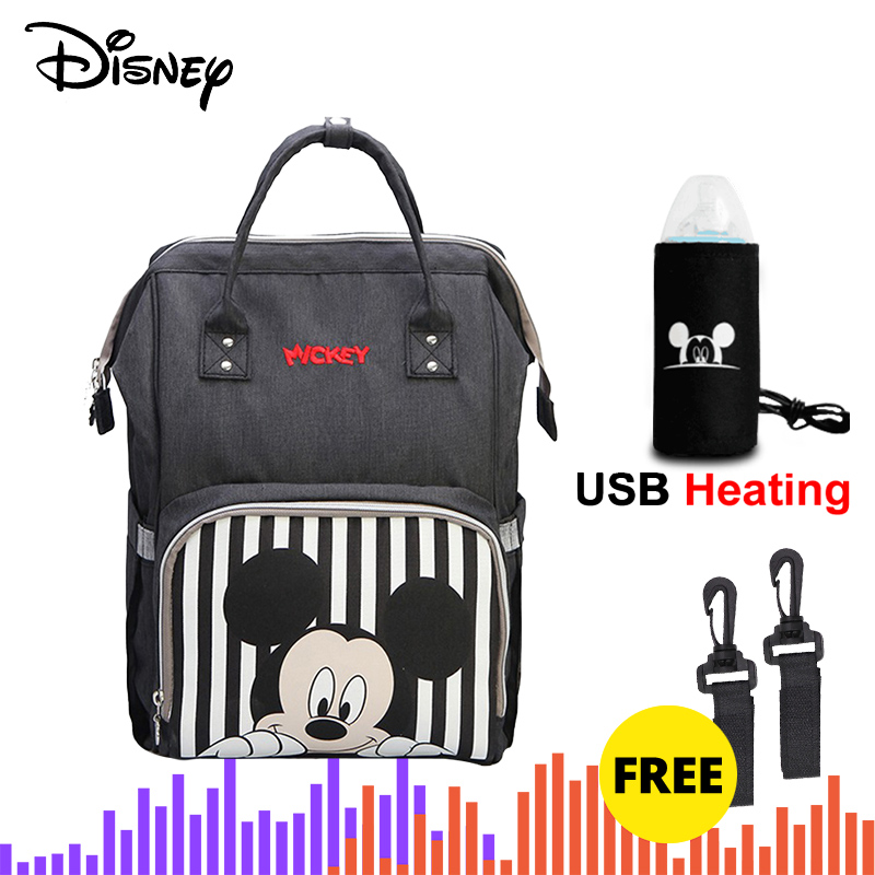 Disney Mickey Minnie Travel Diaper Bag Bolsa Maternidade Waterproof Stroller Bag USB Baby Bottle Warmer Mummy Backpack Nappy Bag