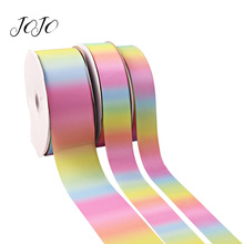 JOJO BOWS 38/50/75mm 5y Grosgrain Ribbon Gradient Gradual Color Wedding Party Decoration Apprel Sewing DIY Hair Bows Accessory
