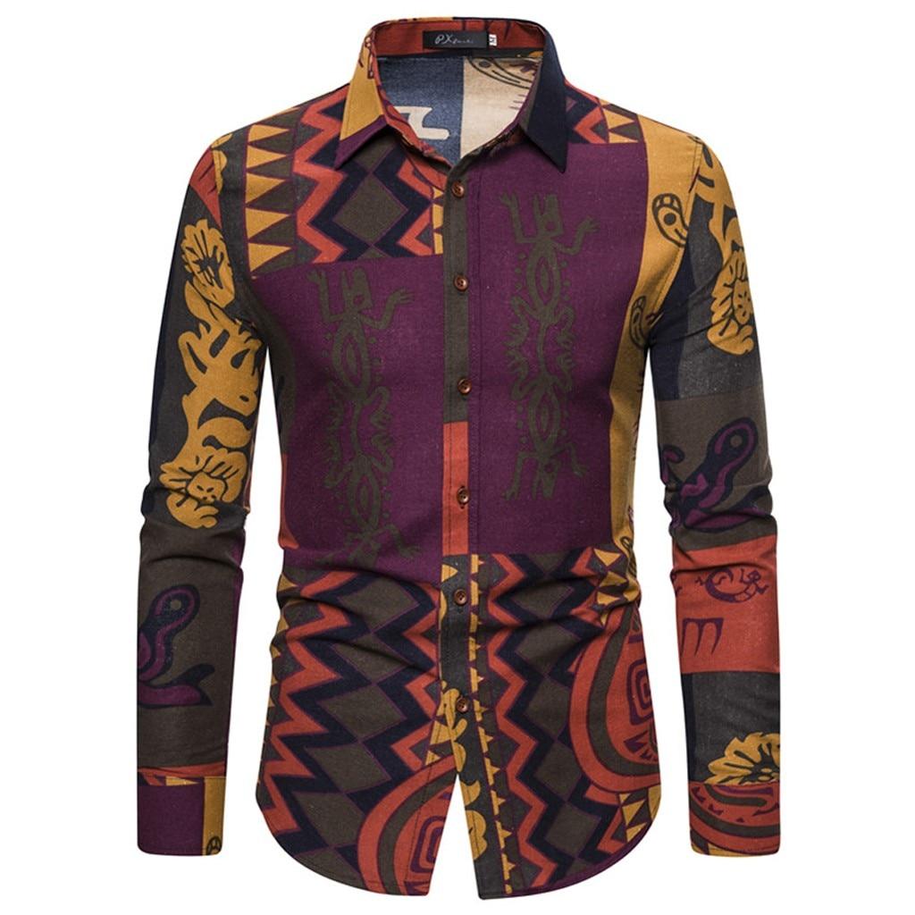 Fashion Men's Luxury Stylish Casual Shirts Fashion Men's Casual Printed Floral Long Sleeve Button Shirt Top Blouse M-5XL  10.28