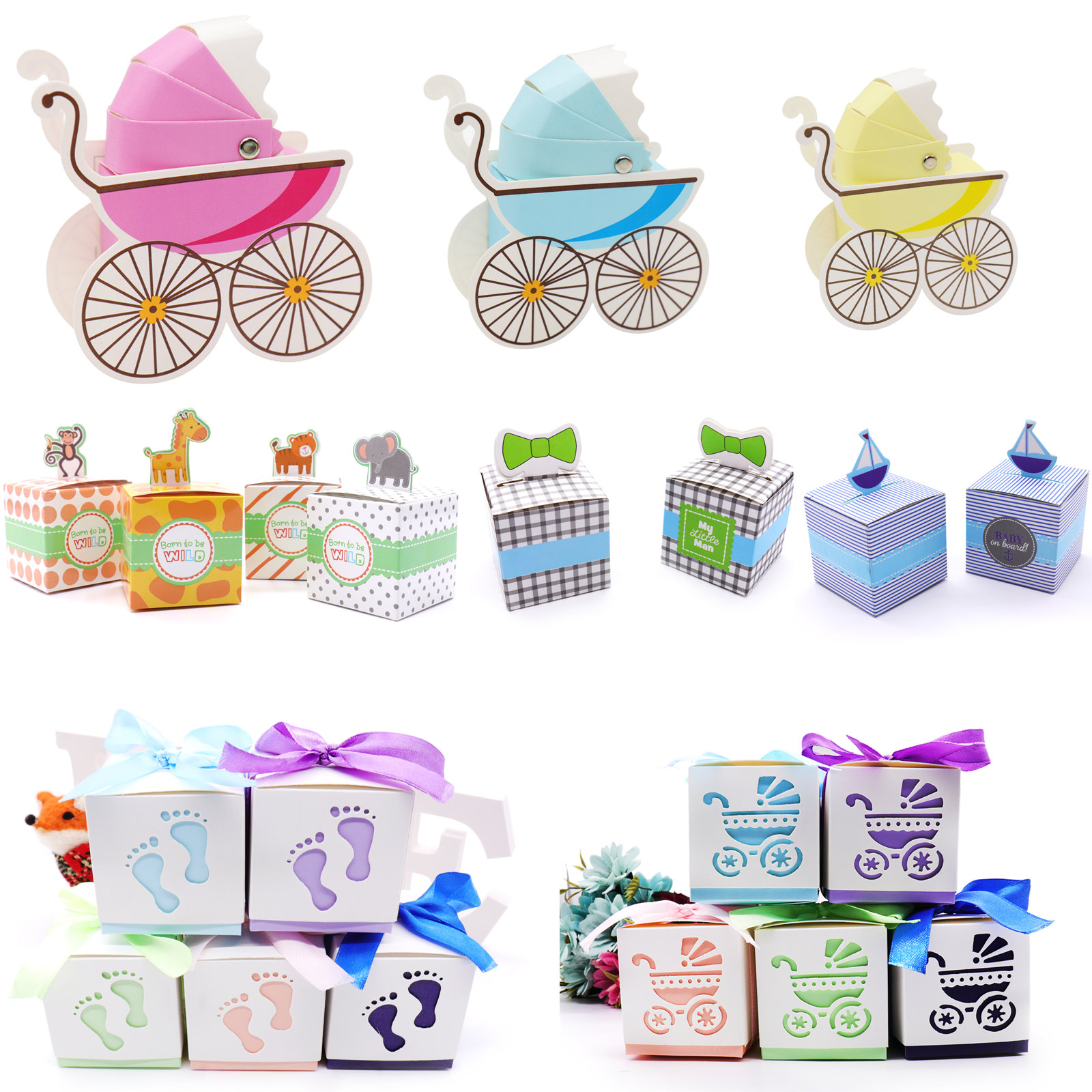 10pcs/lot Candy Boxes Baby Shower Party Cupcake Gift Bag Kids Party Favors Candy Box Paper Bags Birthday Wedding Decoration