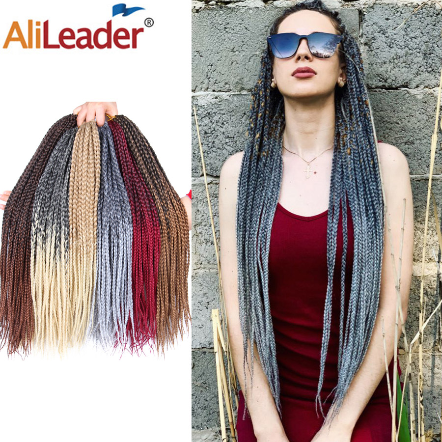Alileader 22strands/pack Brown Black Grey Box Braid Crochet Braid Hair Extensions Ombre Synthetic Fiber Braiding Hair For Women