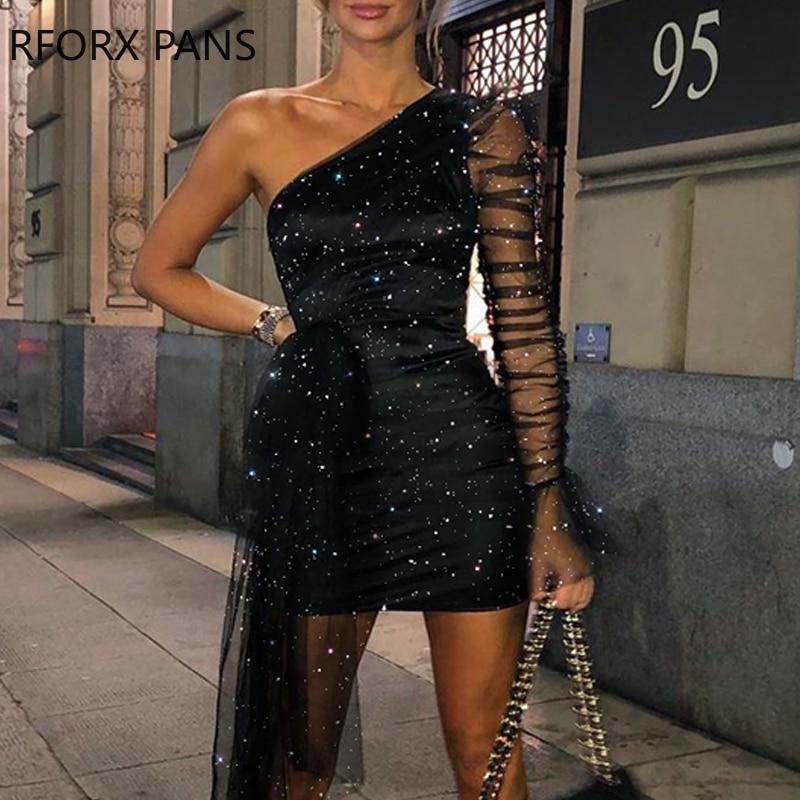 Glitter One Shoulder Sheer Mesh Ruched Long Sleeve Bodycon Dress Women Dress