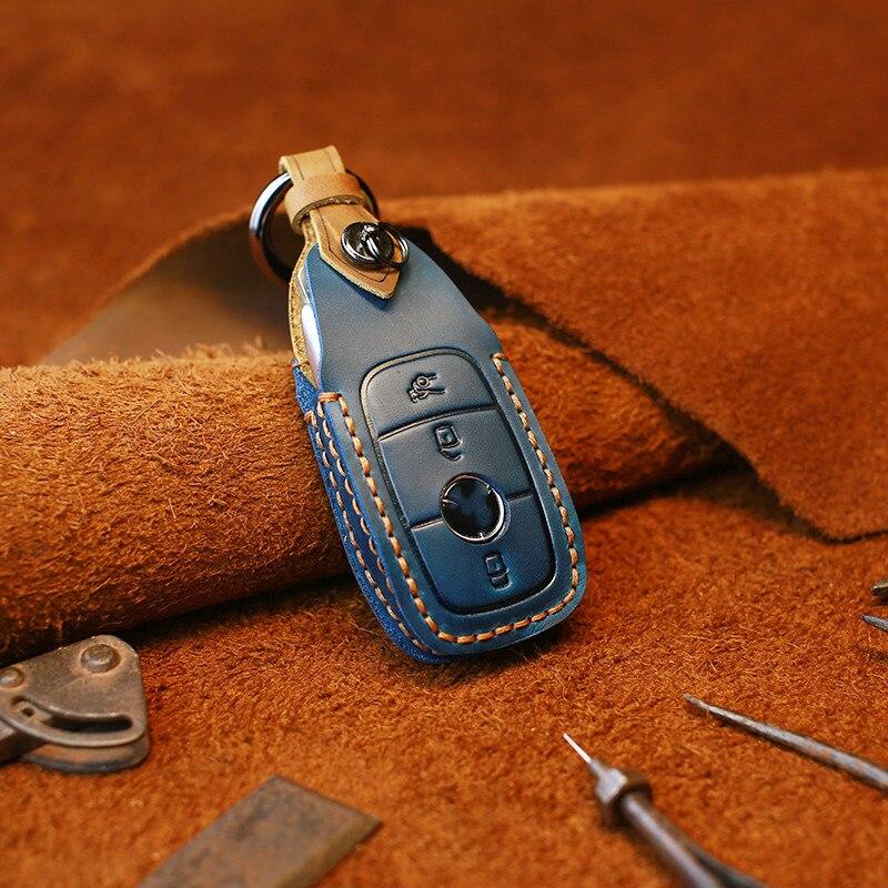 Araba anahtarı durum katlanır anahtar çantası Mercedes Benz için bir C r E r E r E r E r E r E r E r E r E r E sınıf W221 W177 W205 W213 tutucu kabuk deri anahtarlık aksesuarları