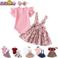 Conjunto de ropa para bebé niña, Pelele de Color sólido para recién nacido, vestido Floral con volantes, traje para niño pequeño, 3 uds.