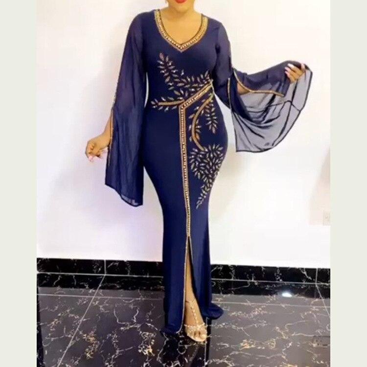 2020 Autumn Sexy African Women Polyester Long Sleeve Long Dress
