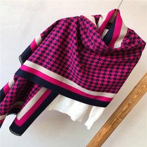Image 4 - Marca 2019 inverno cachecol houndstoo cashmere pashmina mulheres scarfs quente grosso xale hijab poncho para senhoras cachecóis foulard femme