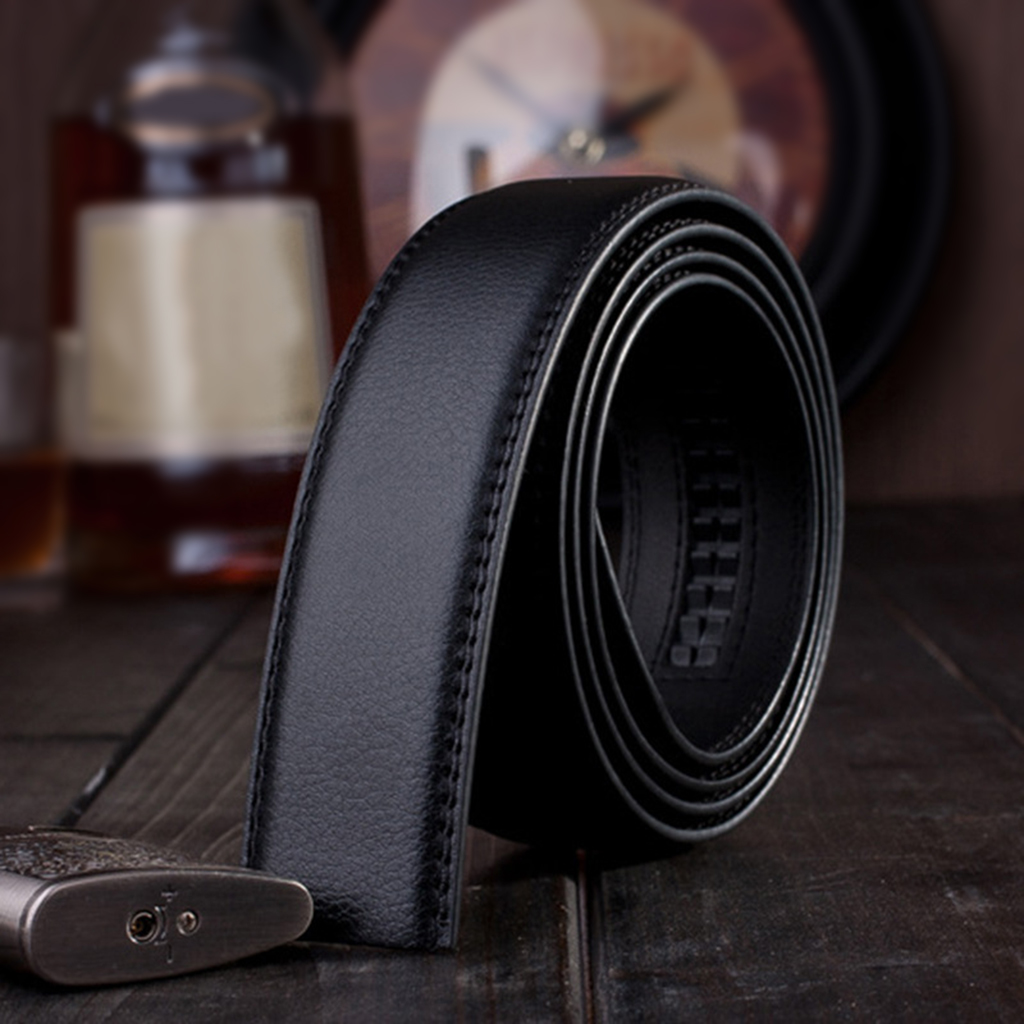 2 PCS Fashion Mens Automatic Slide Leather Belt Ratchet Strap Classice Vintage Belt Without Buckle  For Men Black