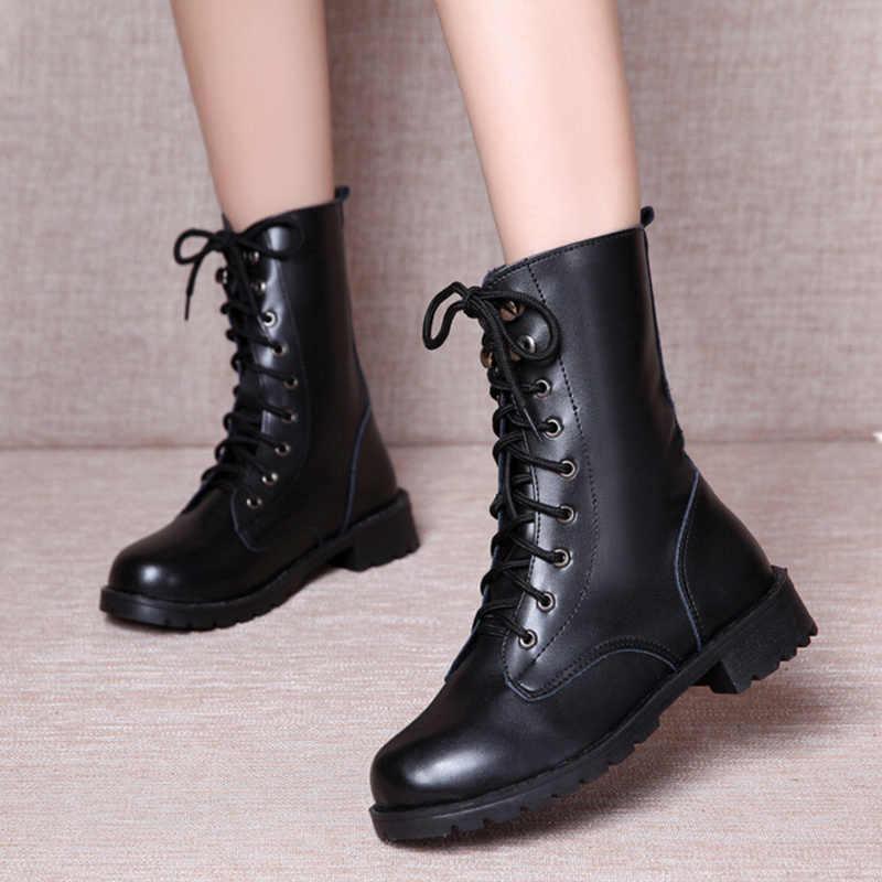 LZJ 2019 Stivali Da Pioggia Scarpe Impermeabili Donna scarpe di Acqua di Gomma Lace Up Martin Stivaletti Stivali Da Cucire Solido Piatto con le Scarpe Più formato 42