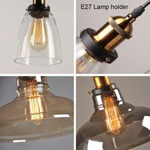 Image 5 - Luzes pingente de vidro do vintage lâmpada loft nordic pendurar lâmpada 28cm cinza fumado industrial sala jantar quarto cozinha e27