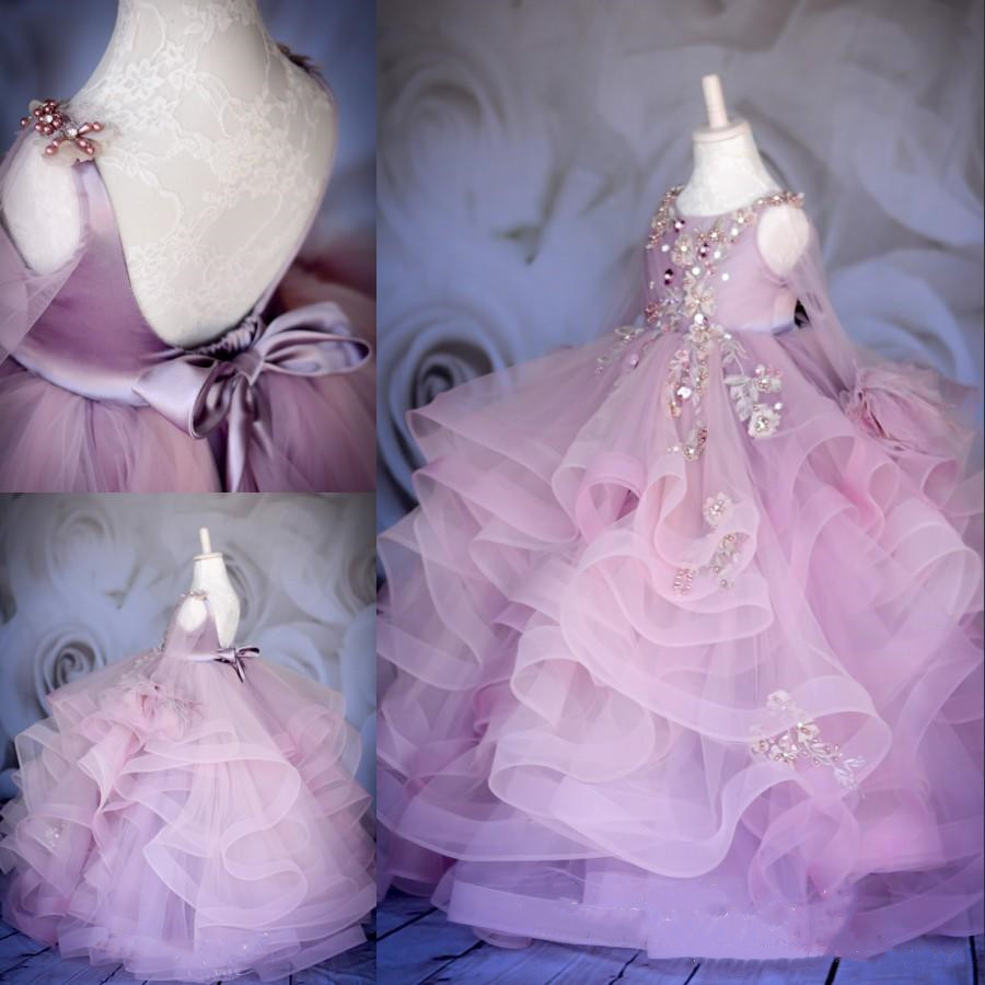 Luxury Custom Ball Gown Flower Girl Dresses For Wedding Beaded Toddler Pageant Gowns Long Sleeves Tiered Kids Birthday Gown