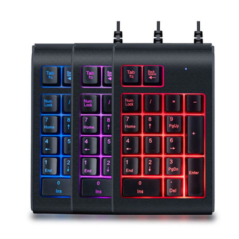 Three Colors RGB Backlit USB Wired Keyboard Waterproof Number Pad Numeric Keypad Mini Numpad Multi-functional Digital Keys C90C