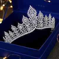 Di Lusso Zircone Corona Diadema in Argento Della Fascia Zirconia Strass Reale Queen Principessa di Spettacolo Del Partito di Gioielli da Sposa