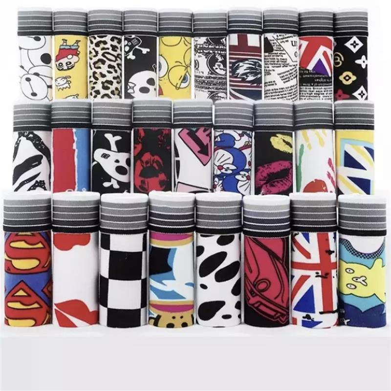 10pcs/Lot Men's Underwear Sexy Cartoon Anime Underwear Trend Fun Printing Soft Fabric Breathable Boxer Shorts Boxers for Men