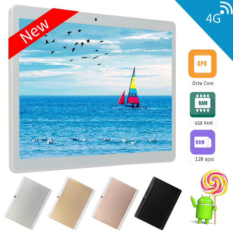 Convenient  Tablet 10.1 Inch Android 8.0 Tablet PC 6GB RAM+128GB ROM Dual Camera 5MP SIM Tablet PC Wifi GPS 4G Lte Phone Pad