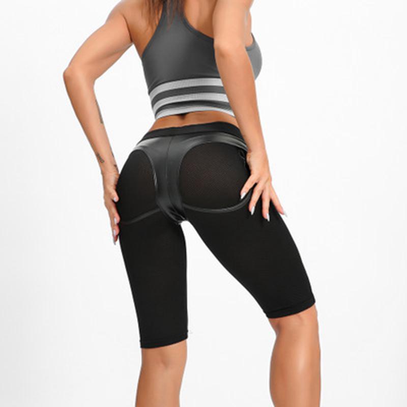 Black Leather Patchwork Yoga Pants Capri Sport Leggings High Waist Sexy Running Tights Pants Gym Workout Leggins Jogging Femme