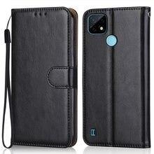 Caso de couro de luxo para em realme c21 carteira suporte flip caso saco do telefone com alça