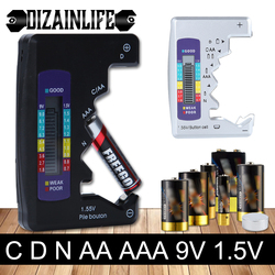 Digital Battery Tester LCD Display C D N AA AAA 9V 1.5V Battery Button Cell Capacity Check Detector Capacitance Diagnostic Tool