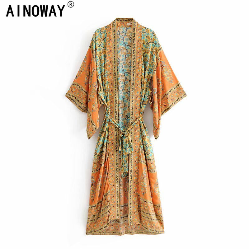 Vintage chic Women  yellow Floral Print Sashes  bohemian Kimono Ladies V Neck batwing Sleeves  Boho Maxi dress robe