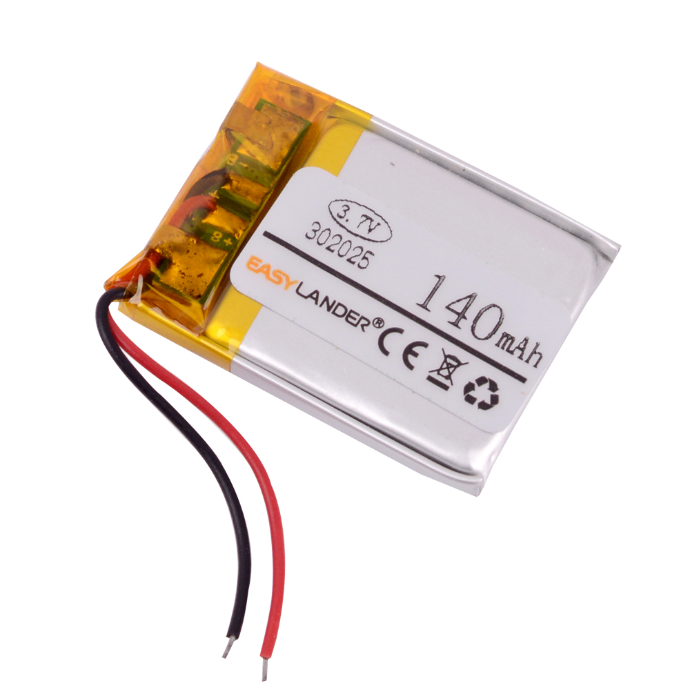 <font><b>302025</b></font> 3.7V 140mAh Rechargeable li Polymer Li-ion Battery For bluetooth headset mp3 mp4 Watch GPS PSP LED light lampe 032025 image