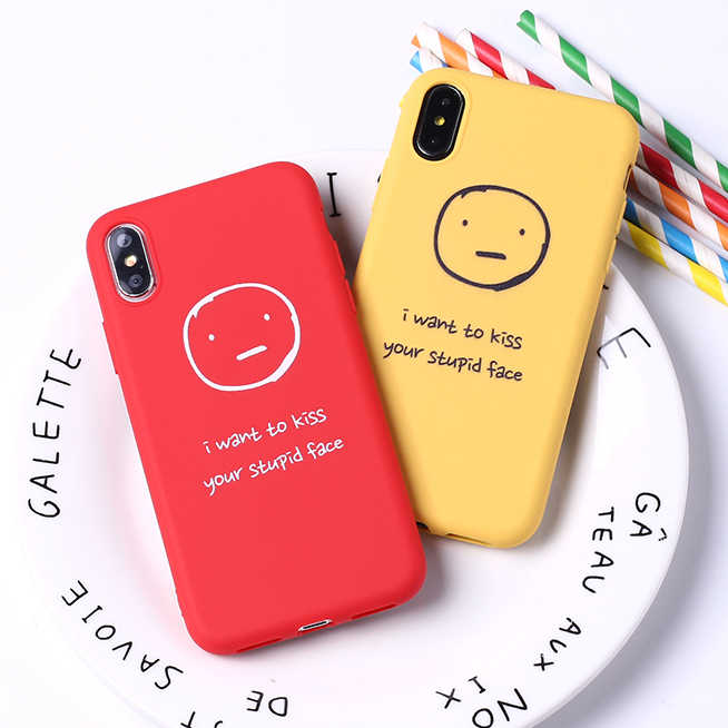 Funny Expression Cartoon Cute Soft Matte Silicone Candy Case Coque For iPhone 11 Pro 6 6S 5S 8 8Plus X XR XS Max 7 7Plus