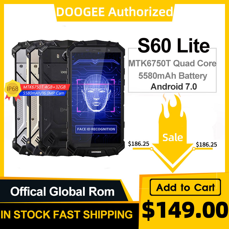 DOOGEE S60 Lite IP68 Drahtlose Lade Smartphone 5580mAh 12V2A Quick Charge 16,0 MP 5.2 ''FHD MTK6750T Octa Core 4GB RAM 32GB ROM