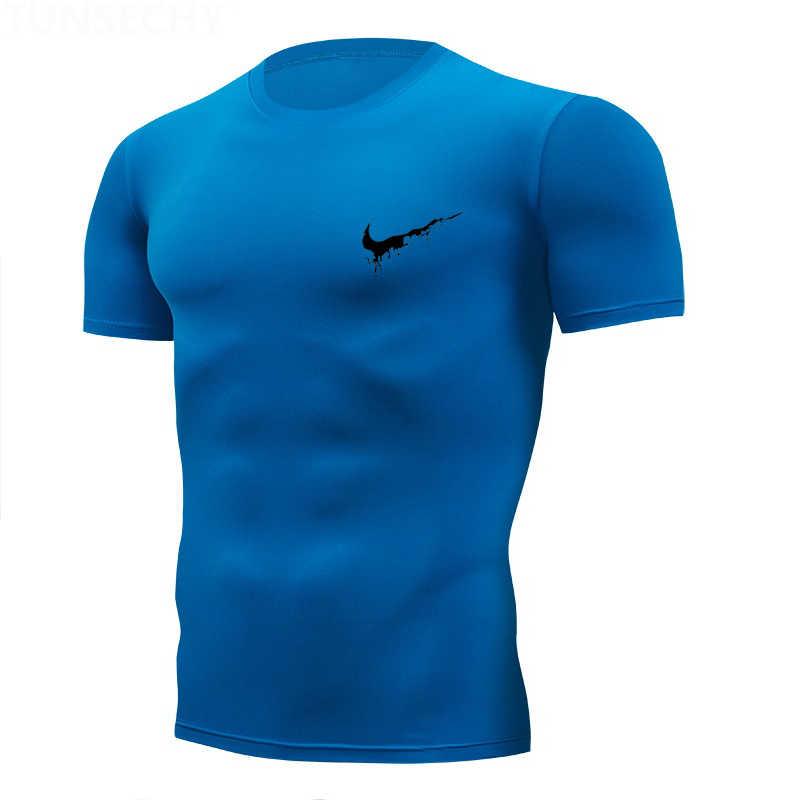 2019 Baru Berjalan T Shirt Pria Katun Gym Kebugaran Pria Tee T-shirt Merek Pakaian Olahraga T Shirt Pria Pendek Motif lengan Hot Sale