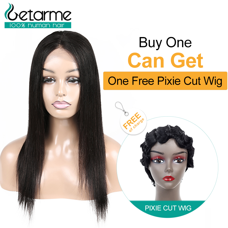 Getarme Hair Brazilian Wig 4x4 Straight Lace Closure Wig Pre Plucked Human Hair Wigs  With Baby Hair Jazz Star Non Remy Lace Wig
