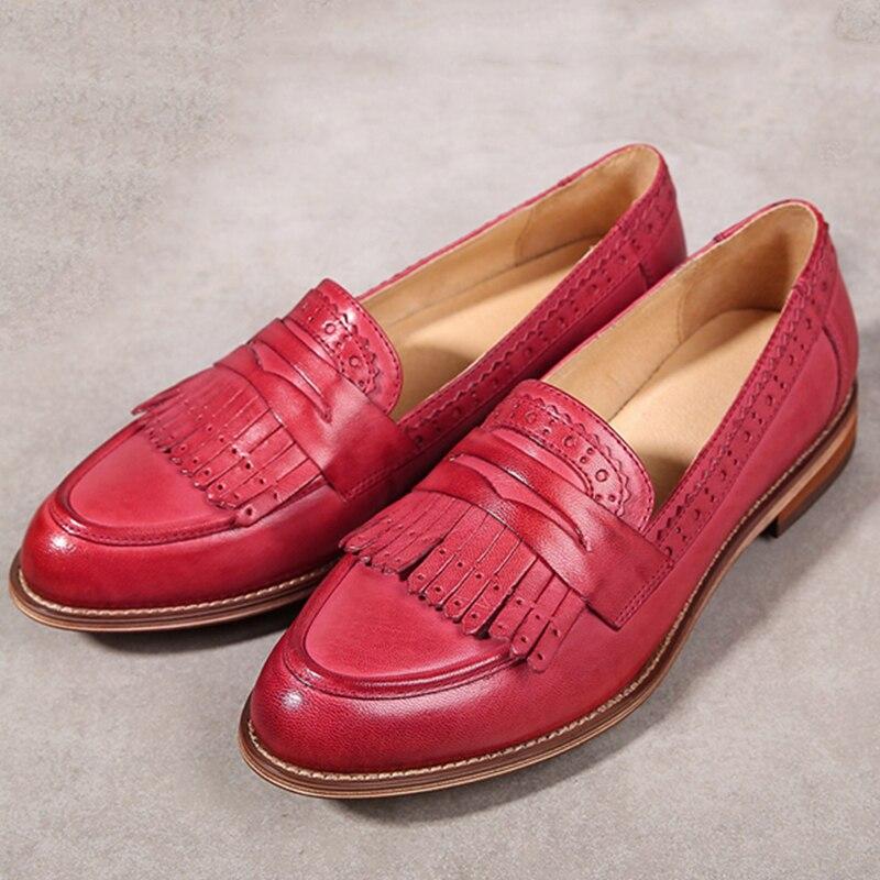 Ayakk.'ten Kadın Topuksuz Ayakkabı'de Yinzo kadın Flats Oxford ayakkabı kadın hakiki deri sneakers bayanlar Brogues Vintage rahat ayakkabılar ayakkabı kadın ayakkabısı'da  Grup 1