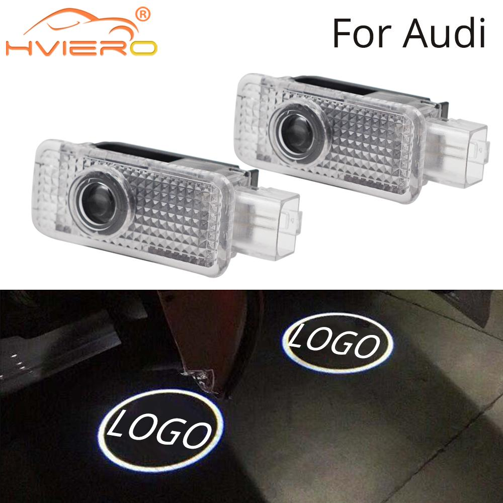 2X For Audi Door Light Welcome Light Projection Lamp Logo LED For Audi Logo A1 A3 A4L A6L Q3 Q5 Q5L R8 RS3 RS4 RS5 RS6 5W Laser