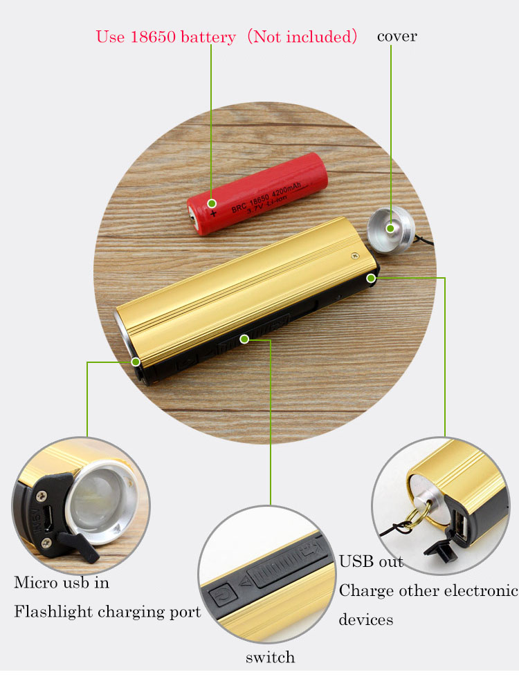 Multi-function Flashlight USB Charging Mini Portable Self Defense LED Flashlight With Cigarette lighter Home Car Emergency Tool  (10)