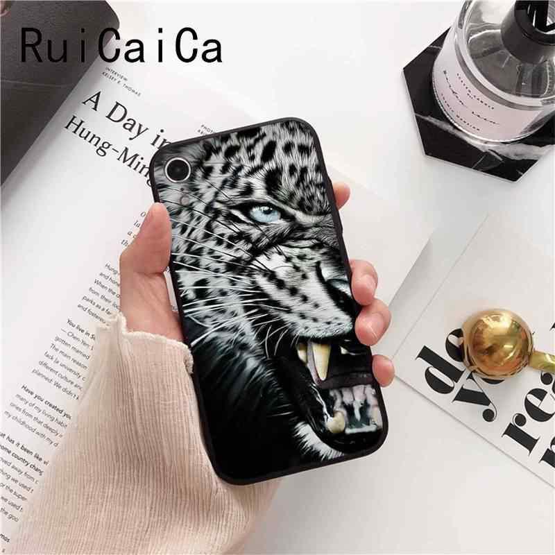 Ruicaica rosyjska wersja wilk tygrys lew lampart niedźwiedź zwierząt pokrywa czarny etui na telefon do iPhone8 7 6 6S 6 plus X XS MAX 5 5S SE XR